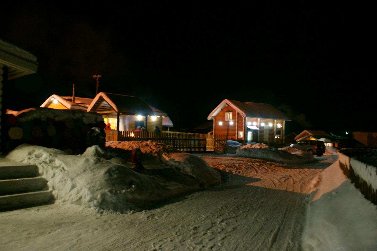База отдыха Русская Деревня ночью